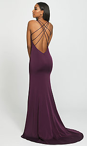 Image of multi-strap long Madison James formal prom dress. Style: NM-19-139 Back Image