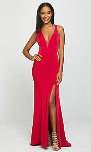 Image of multi-strap long Madison James formal prom dress. Style: NM-19-139 Detail Image 3