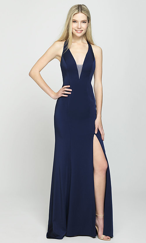 Image of multi-strap long Madison James formal prom dress. Style: NM-19-139 Detail Image 6
