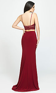 Image of long two-piece Madison James lace-top prom dress. Style: NM-19-151 Back Image