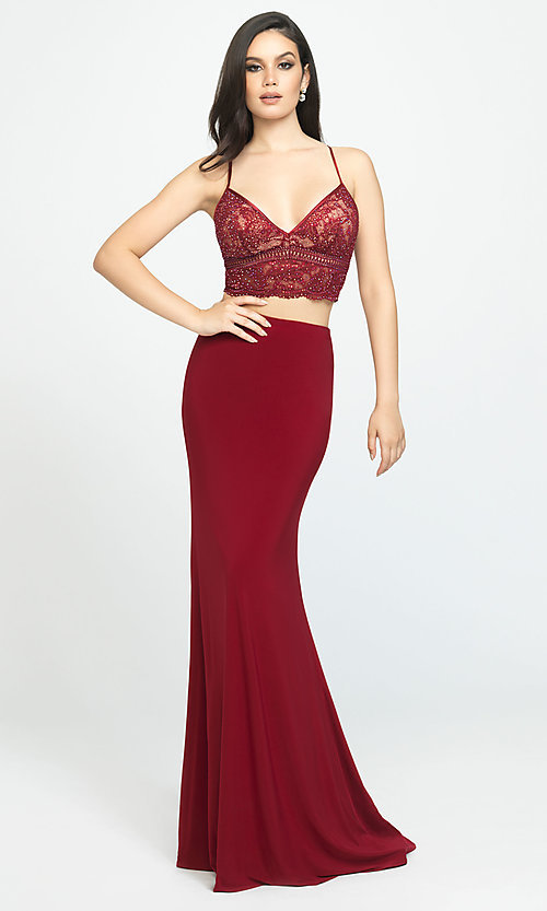 Image of long two-piece Madison James lace-top prom dress. Style: NM-19-151 Front Image