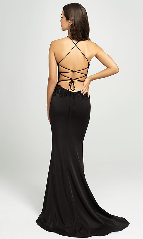 Image of Madison James backless lace-bodice long prom dress. Style: NM-19-153 Back Image