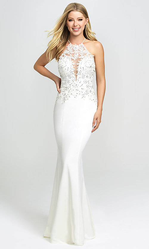 Image of Madison James backless lace-bodice long prom dress. Style: NM-19-153 Front Image