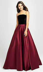 Image of long velvet-bodice prom dress by Madison James. Style: NM-19-155 Front Image