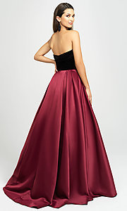 Image of long velvet-bodice prom dress by Madison James. Style: NM-19-155 Back Image