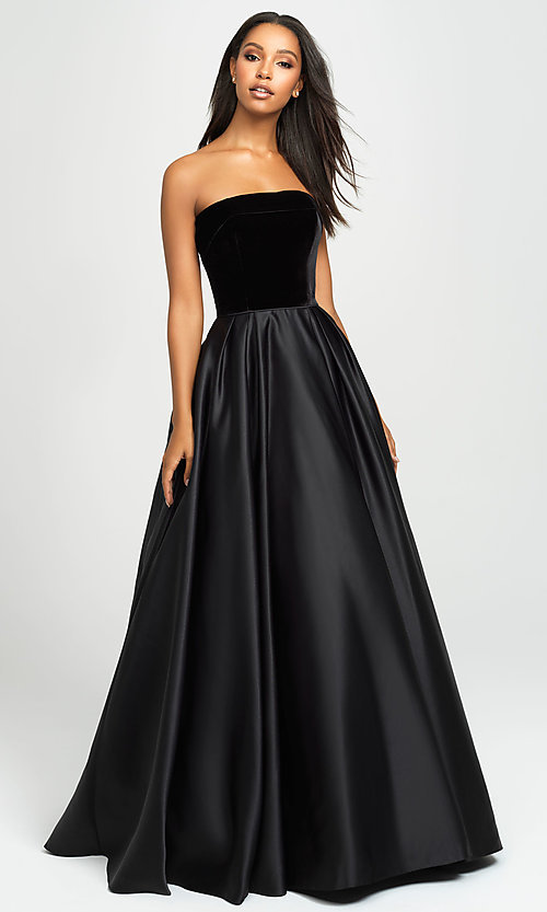 Image of long velvet-bodice prom dress by Madison James. Style: NM-19-155 Detail Image 3