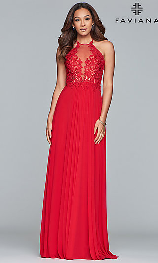 High-Neck Long Red Prom Dress by Faviana