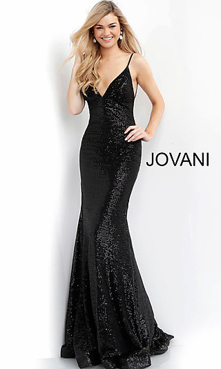 Long Jovani Black Sequin Designer Prom Dress