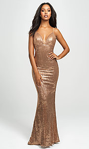Image of long empire-waist sequin prom dress by Madison James. Style: NM-19-158 Detail Image 1