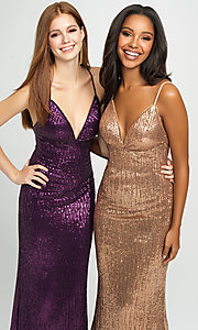 Image of long empire-waist sequin prom dress by Madison James. Style: NM-19-158 Detail Image 3