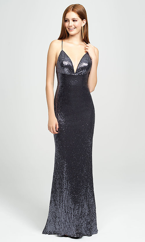Image of long empire-waist sequin prom dress by Madison James. Style: NM-19-158 Front Image