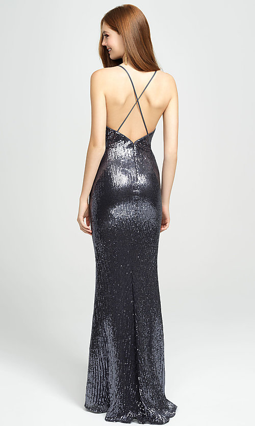 Image of long empire-waist sequin prom dress by Madison James. Style: NM-19-158 Back Image