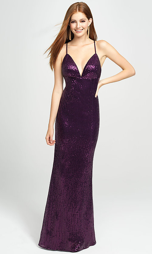 Image of long empire-waist sequin prom dress by Madison James. Style: NM-19-158 Detail Image 2
