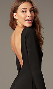 Image of short high-neck homecoming dress with long sleeves. Style: SY-ID6657AP Detail Image 1