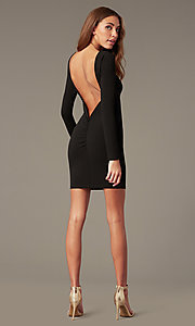 Image of short high-neck homecoming dress with long sleeves. Style: SY-ID6657AP Front Image