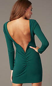 Image of short high-neck homecoming dress with long sleeves. Style: SY-ID6657AP Detail Image 2