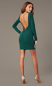 Image of short high-neck homecoming dress with long sleeves. Style: SY-ID6657AP Detail Image 4