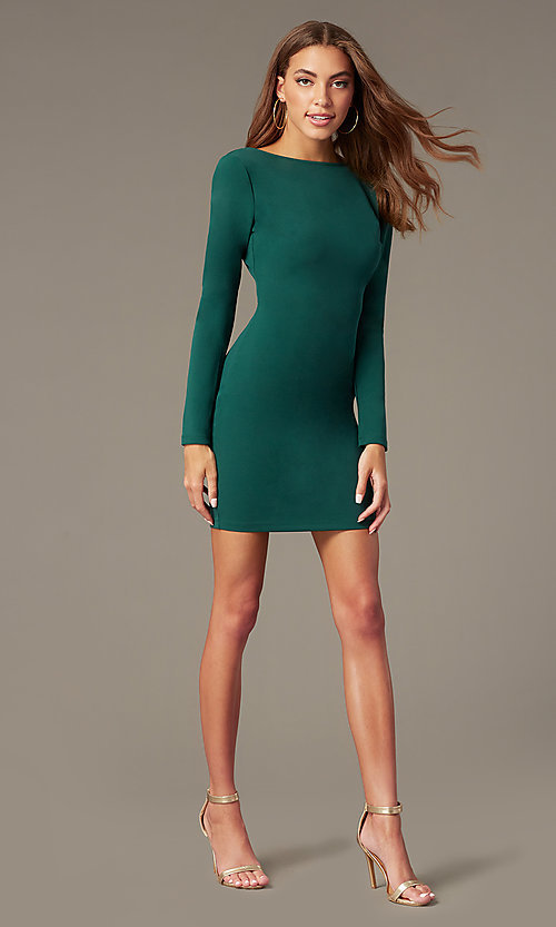 Image of short high-neck homecoming dress with long sleeves. Style: SY-ID6657AP Detail Image 3