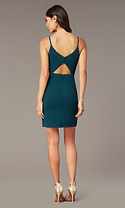 Image of short green v-neck party dress by PromGirl. Style: MT-PL-9340-1 Back Image