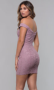 Image of short off-the-shoulder sweetheart lace party dress. Style: LP-25839-v Back Image
