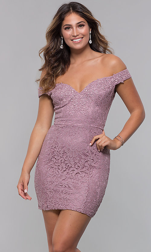 Image of short off-the-shoulder sweetheart lace party dress. Style: LP-25839-v Front Image