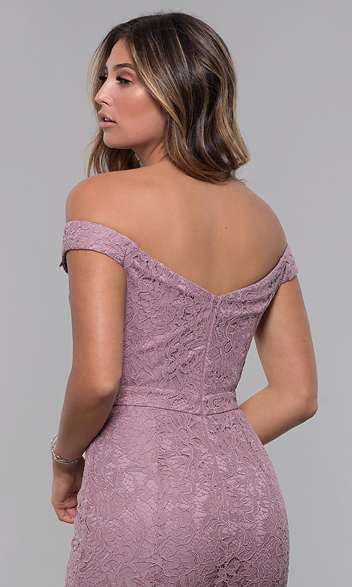 Image of short off-the-shoulder sweetheart lace party dress. Style: LP-25839-v Detail Image 2
