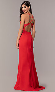 Image of open-back long red formal prom dress by Simply. Style: MT-SD-9756-1-v Back Image