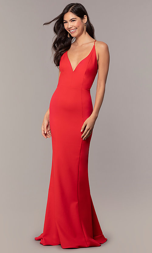 Image of open-back long red formal prom dress by Simply. Style: MT-SD-9756-1-v Front Image