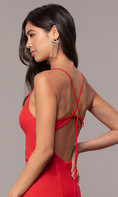 Image of open-back long red formal prom dress by Simply. Style: MT-SD-9756-1-v Detail Image 2
