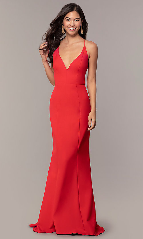 Image of open-back long red formal prom dress by Simply. Style: MT-SD-9756-1-v Detail Image 3