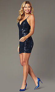 Image of navy short sequin homecoming dress by PromGirl. Style: MCR-PL-2463 Front Image