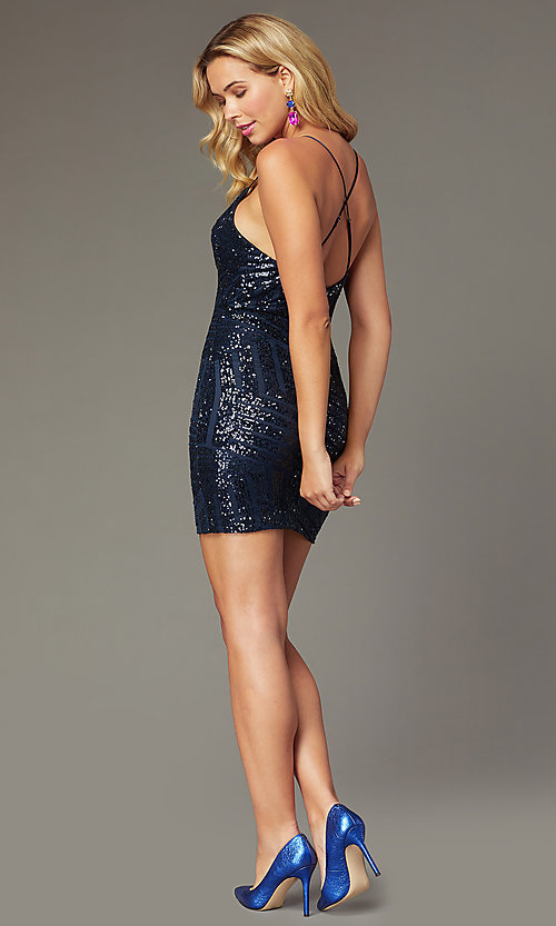 Image of navy short sequin homecoming dress by PromGirl. Style: MCR-PL-2463 Back Image