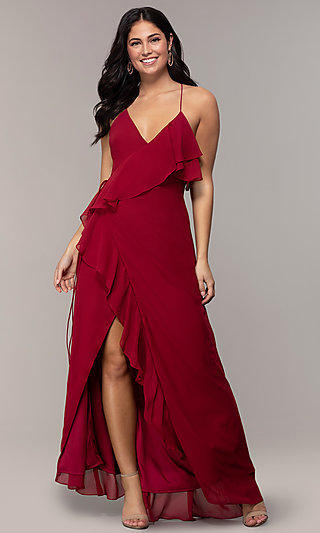 Long Ruffle Burgundy Formal Prom Dress by Simply