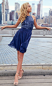 Image of short sequin-bodice party dress by PromGirl. Style: MCR-PL-2555 Detail Image 2