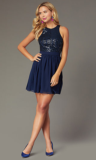 Short Chiffon Sequin Bodice Homecoming Dress