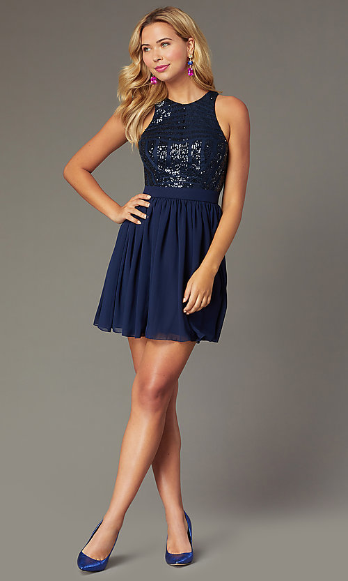 Image of short sequin-bodice party dress by PromGirl. Style: MCR-PL-2555 Front Image