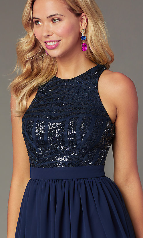 Image of short sequin-bodice party dress by PromGirl. Style: MCR-PL-2555 Detail Image 1