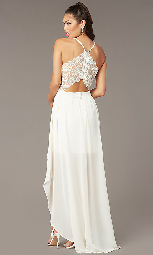 Image of high-low v-neck graduation party dress in ivory. Style: EM-FWT-1027-120 Front Image