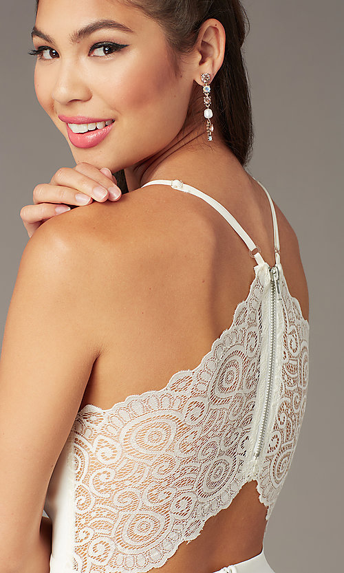 Image of high-low v-neck graduation party dress in ivory. Style: EM-FWT-1027-120 Detail Image 1