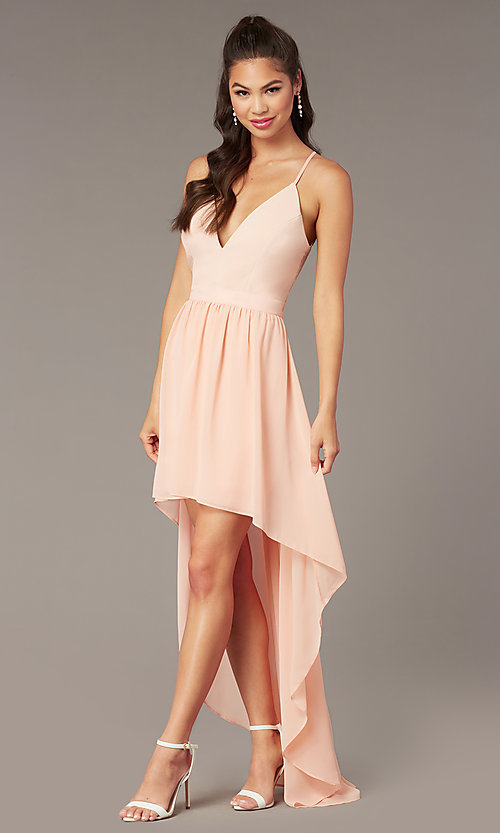 Image of v-neck high-low pink graduation party dress. Style: EM-FWT-1027-660 Detail Image 2