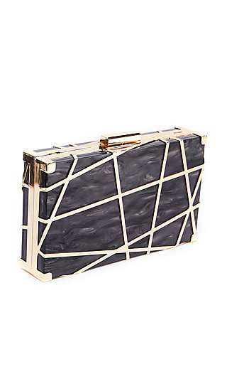 Gold Plated Lazer Lune Clutch with Chain