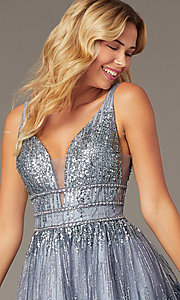 Image of sequined grey fit-and-flare homecoming party dress. Style: JO-JVN-JVN4762 Detail Image 1