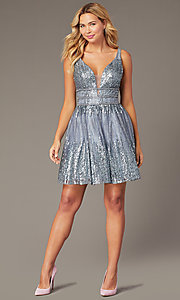 Image of sequined grey fit-and-flare homecoming party dress. Style: JO-JVN-JVN4762 Front Image