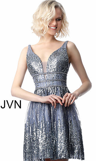 Sequined Grey Fit-and-Flare Homecoming Dress