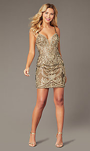 Image of short embroidered JVNX by Jovani homecoming dress. Style: JO-JVNX2201 Front Image