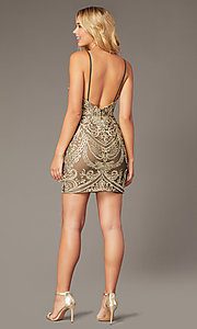 Image of short embroidered JVNX by Jovani homecoming dress. Style: JO-JVNX2201 Back Image