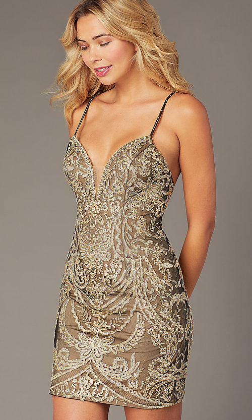 Image of short embroidered JVNX by Jovani homecoming dress. Style: JO-JVNX2201 Detail Image 1