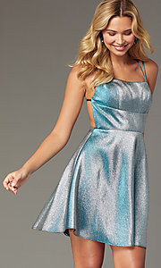 Image of short JVNX by Jovani metallic homecoming dress. Style: JO-JVNX00382 Front Image