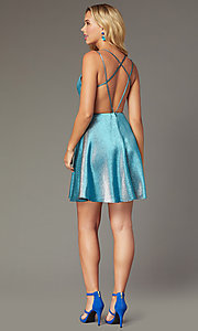 Image of short JVNX by Jovani metallic homecoming dress. Style: JO-JVNX00382 Detail Image 2