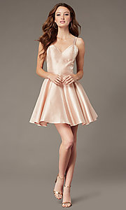 Image of JVNX by Jovani short semi-formal party satin dress. Style: JO-JVNX3214 Detail Image 2